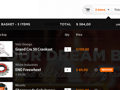 Bike Shop Modal Basket Black interface ui ecommerce modal basket