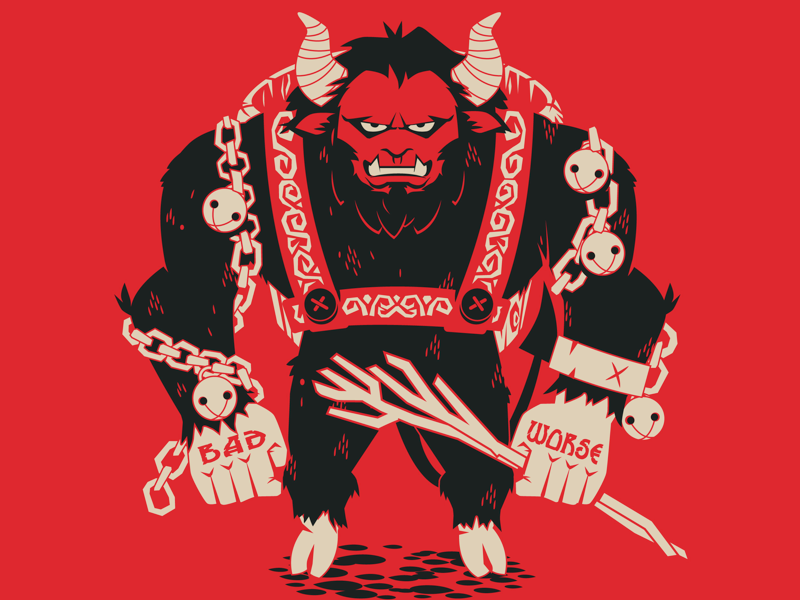 Krampus character christmas limited colour krampus illustration vector