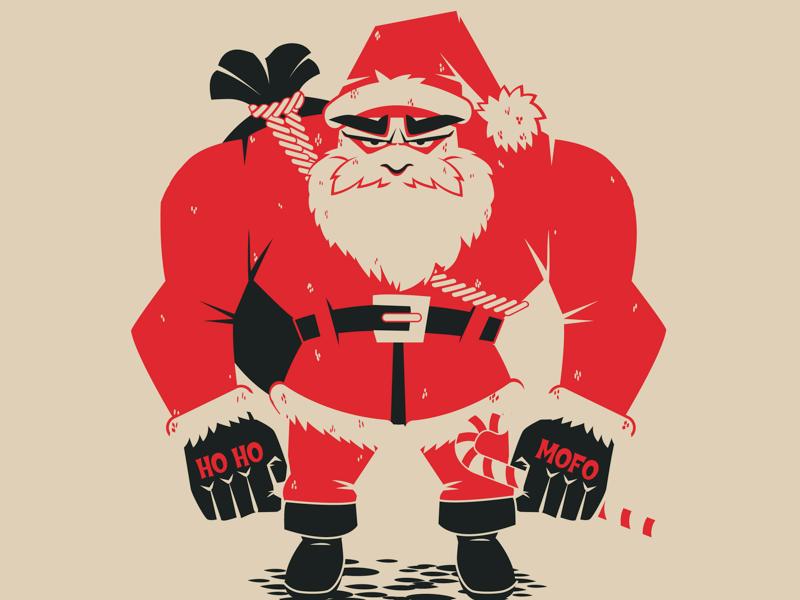 Bad Santa illustration limited colour christmas character vector naughty santa