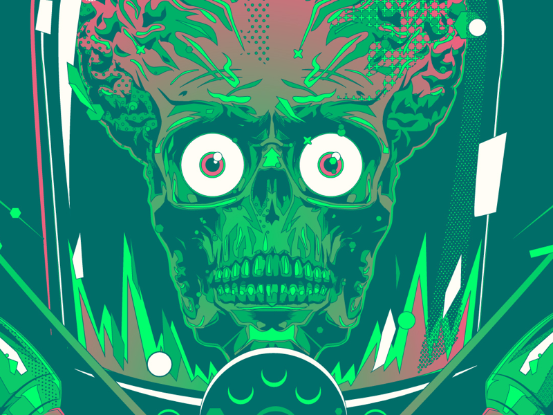 Ack ack green illustration vector practice alien topps mars attacks