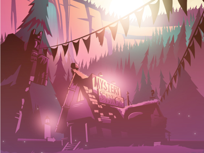 The mystery shack gradient neon illustration vector grunkle stan the mystery shack gravity falls