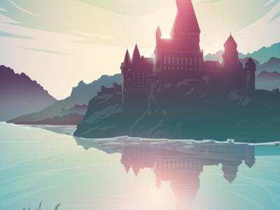 Magical gradient colour neon illustration vector castle harry potter magical hogwarts
