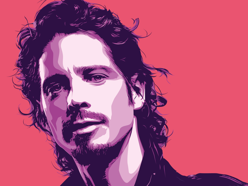 Chris Cornell iconic rock icon illustration vector portrait chris cornell