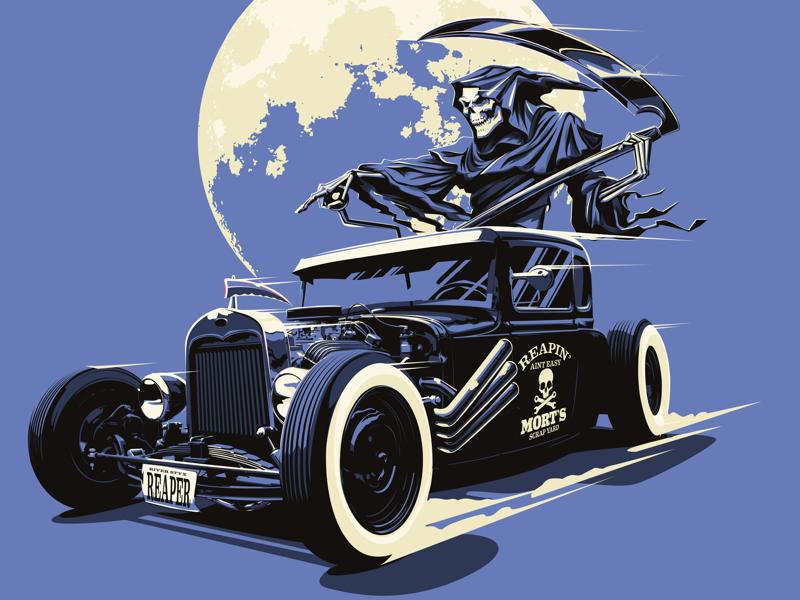 Reapin' ain't easy automotive tonal illustration vector hot rod grim reaper