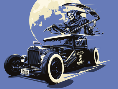 Reapin' ain't easy automotive tonal illustration vector hot rod grim reaper
