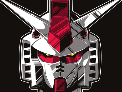 """I said Gun-DAMN!"" clean limited colour halftone illustration vector practice robot mecha gundam"