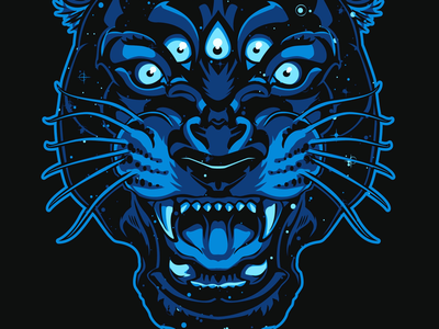 Space panther stars panther tattoo illustration vector practice
