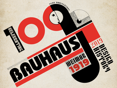 100 years of Bauhaus design history 100 years anniversaries layout typography vector bauhaus
