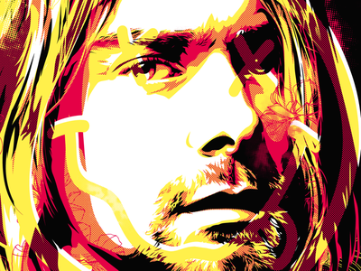 A little bit kurt tribute halftone illustration vector practice song writer singer kurt cobain nirvana