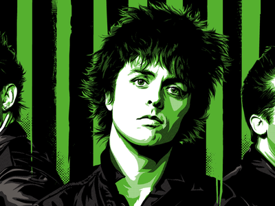 Green eyed monster (of rock) halftone illustration vector practice rock icon green day billie joe