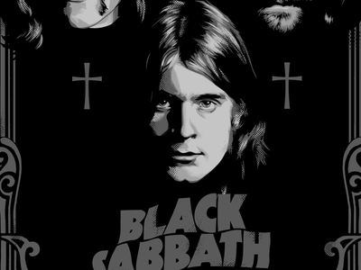 Ozzy, ozzy, ozzy, oi,oi,oi! halftone black sabbath rock icon illustration vector practice