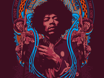 Jimi rocktober portrait illustration practice vector jimi hendrix