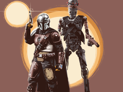 'A fistful of credits' droid ig11 character art practice illustration the mandalorean. star wars