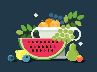 Fruit still life food lemon grapes watermelon paint flat illustration fruit vector life still fruits