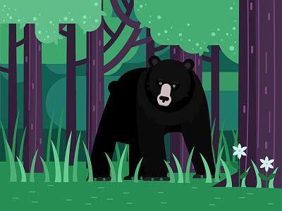 Bear illustration design nature wild animals cartoon vector flat trees forest bear