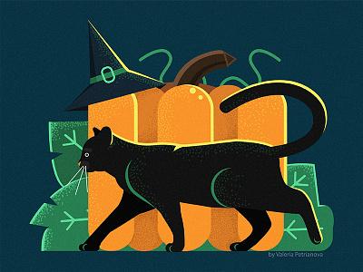 Halloween animals holiday graphic vegetables pumpkin illustrator design cat illustration flat vector halloween