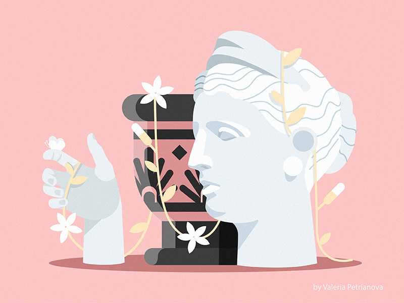 Dreams of spring face hand flower antiquity rome creative design art sculpture flat illustration