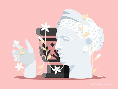 Dreams of spring face hand flower antiquity rome creative design art sculpture flat illustration