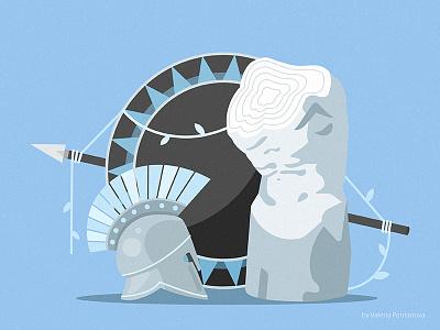 Balance concept illustrator design sculpture shield antique illustration vector helmet rome greece ancient