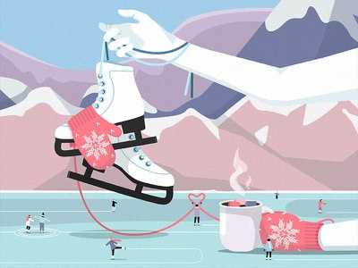 After a walk cartoon flat rink ice skates people mountains landscape vector design illustration winter