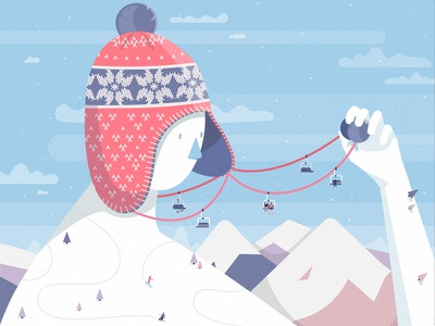 Winter time snowboard skiing art mountains people snow hat design vector illustration winter landscape