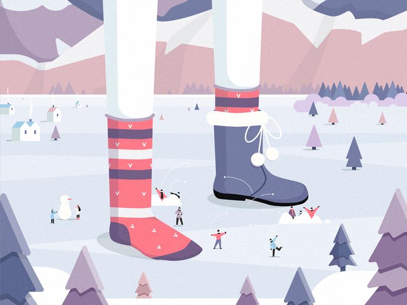 Snowball fight design flat art illustration vector cartoon snowman mountains people trees winter snow