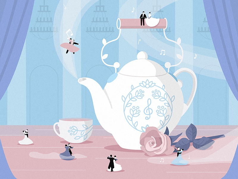 The musical kettle design art vector pink notes dancers rose dance music illustration kettle