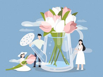 Flowers water character art boy girl design illustration people vector flowers spring