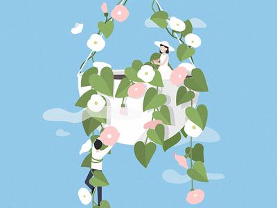 Flowers girl flat butterfly design art man people vector illustration summer plants flowers
