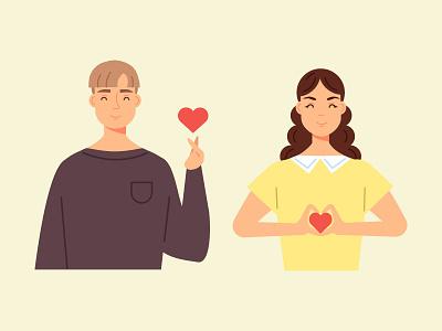 Romantic gesture teenage woman man girl illustration vector design character people heart love