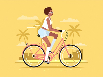 A walk on the bike flat beach summer design character vector woman girl illustration bicycle bike