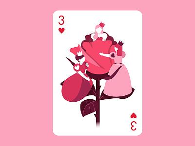 Three hearts card flower roze simple character illustration heart vector illustrator design people card