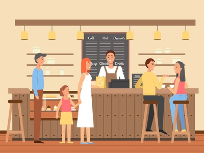Coffee house design character girl woman man illustration vector people room house coffee cafe
