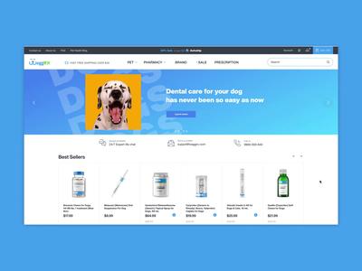 Online Pharmacy for pets - Homepage Design e-commerce art direction pet care care health pharmaceutical medicine horse veterinary pharmacy pet website ux minimal animation web ui design