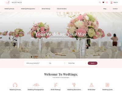 WEDTINGS Website UI icon design typography website ui ux wedding website ui  ux design webdesign ui  ux ui