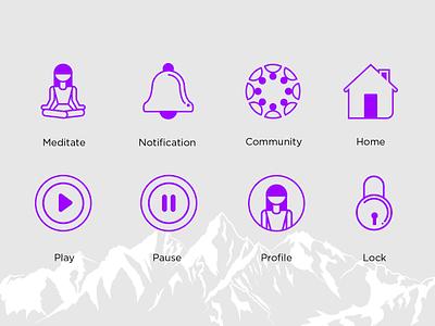 Meditation App UI UX illustration vector ui  ux ui  ux design typography minimalistic logo logo icon design minimal branding minimal brand branding logo design meditation app