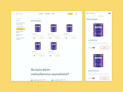 azpolsenayeboyalari.az   Industrial Paints   UI design info shop list products ux azerbaijan kerim letif creative design yellow paint ui