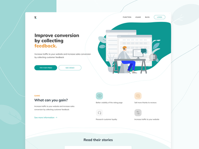 Landing Page Redesign Concept icons minimalistic design vector illustrator illustration landingpage adobexd webdesign uxui ui ux
