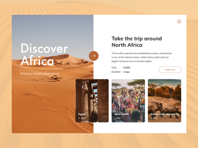 Discover Africa Concept web design web uidesing simple minimalistic layout landing page concept clean design photography adventure travel adobexd design uxui uidesign webdesign landing ui ux
