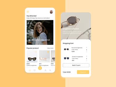 Glasses Store minimalistic clean ux ui title profile products mobile menu shopping cart glasses ecommerce app