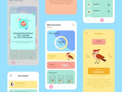 Daily activity app for children app dashboard tiles fitness app children app activity mobile app design figma illustration clean design ux ui minimalistic