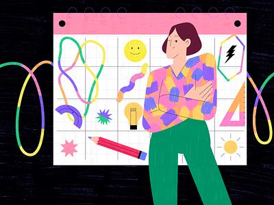 Content plan concept color calendar design calendar ux girl people ui vector animation illustration character design flat