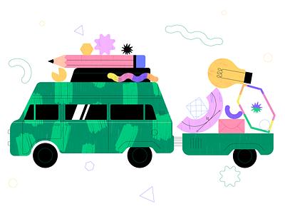 Travel car 🚀 icon ux ui car branding vector graphic animation illustration design flat