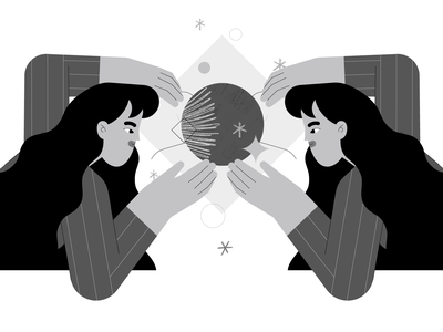 Witches 🔮✨ branding black and white magic witch vector girl graphic people character illustration design flat