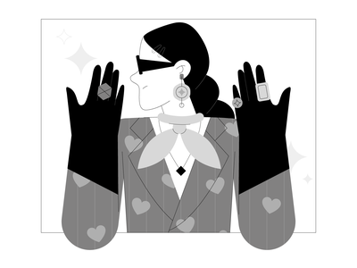 Drama Queen 👑 vector black and white fashion branding girl people graphic character illustration design flat