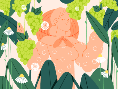 Girl with grapes 🍇 dribbbleweeklywarmup woman illustration grape flowers branding vector flat girls dribbble people graphic character illustration
