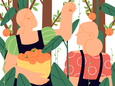 Bon appétit!🍊 explainer video explainer procreate tree dribbbleweeklywarmup dribbble orange food girl people motion vector design character illustration flat