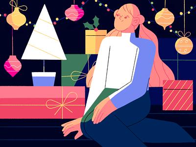 Christmas mood 🎁🎄 holidays explainer video tree gifts new year xmas people girl motion animation design character illustration flat