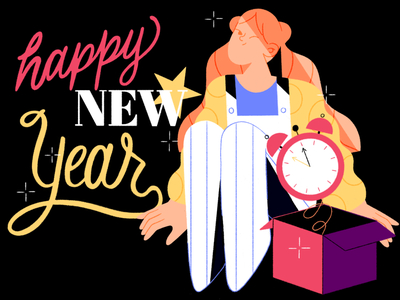 Happy New Year ⭐️ holidays winter 2021 typogaphy clock ux branding graphic vector explainer video new year xmas girl people design character illustration