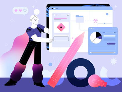 Dashboard 🔥⭐️ screen computer girl motion graphics logo ui app people graphic design branding animation vector graphic design character flat illustration